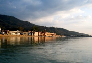 The Ganges flows placidly through Rishikesh, the motherland of Yoga.